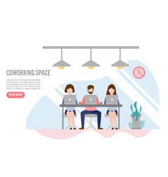 creative people sitting at table coworking vector image