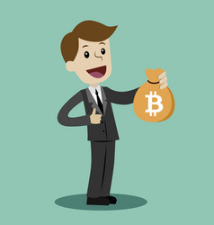 Crypto-currency market lucky businessman or vector