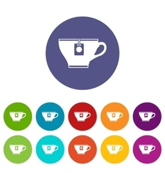 Cup with teabag set icons vector image