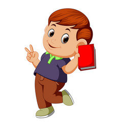 cute boy holding a book vector image