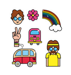 Cute hippie man with important tools vector