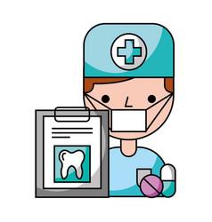 dentist man tooth check medicine hygiene dental vector image