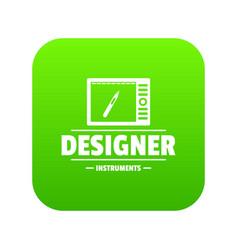 Designer shop icon green vector