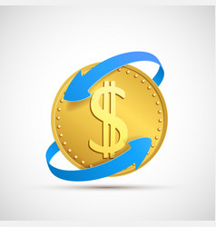 dollar currency sign on golden coin vector image