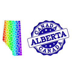 Dot spectrum map of alberta province and grunge vector