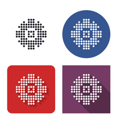 Dotted icon cogwheel in four variants with vector
