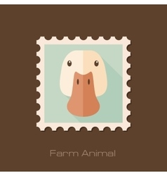 Duck flat stamp Animal head vector