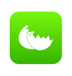 egg shell icon digital green vector image