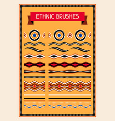 Ethnic pattern brushes australian traditional vector