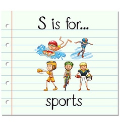 Flashcard letter S is for sports vector
