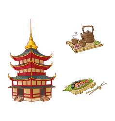 flat pagoda sushi and tea ceremony set vector image