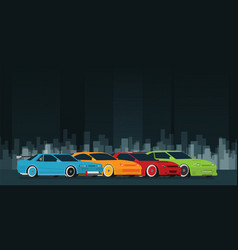 flat racing car set in the night city street vector image
