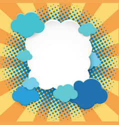 Frame template with blue clouds on orange vector