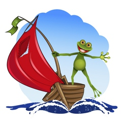 Frog on a boat vector