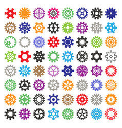 Gear mechanism icons isolated vector