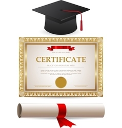 Golden certificate diploma and graduation cap vector