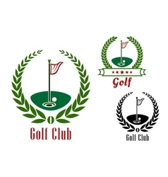 Golf club badg with ball on field vector