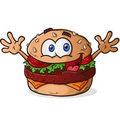 hamburger cheeseburger cartoon vector image
