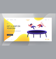 Happy couple jumping on trampoline website landing vector