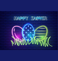 Happy easter neon eggs symbol seasonal vector
