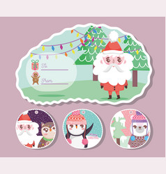 Happy merry christmas tags greeting card vector