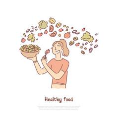 healthy food woman eating vegetables salad vector image