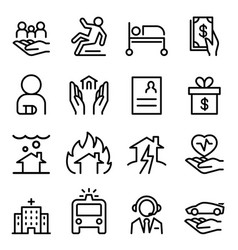 Insurance icon set in thin line style vector