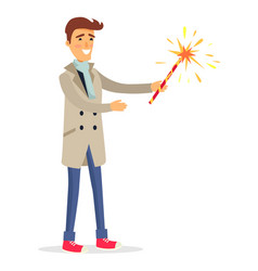 isolated man in beige coat holds fireworks device vector image