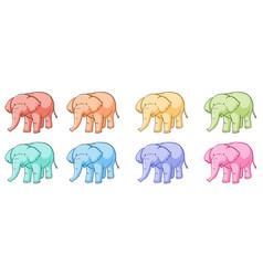 isolated set colorful elephants vector image