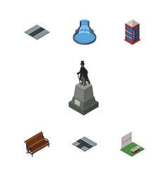 Isometric street set of path sculpture sitting vector