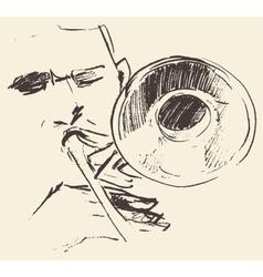 Jazz poster trombone music acoustic consept vector