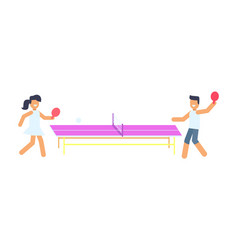 Joyful man and woman that are playing small tennis vector