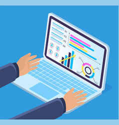 laptop and male hands analytic data report vector image