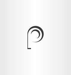 Letter p black logo design vector