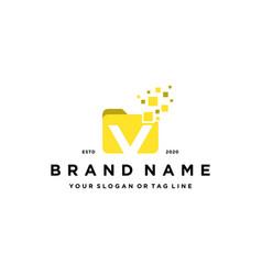 Letter v file folder logo design vector