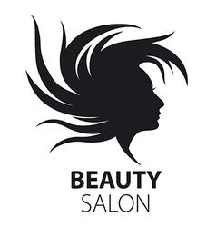 Logo girl with flying hair for beauty salon vector