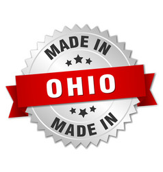 Made in ohio silver badge with red ribbon vector