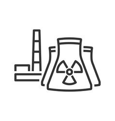 Nuclear power plant line icon vector