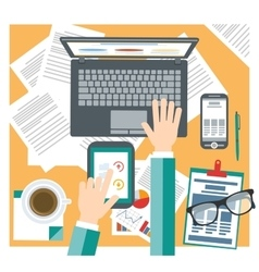 Office stuff and working man Office mess vector