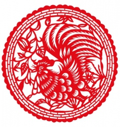 paper cut rooster vector image