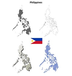 Philippines outline map set vector