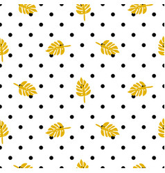 polka dot pattern with palm leaves vector image