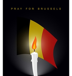 Pray for Brussels Flag of Belgium Mourning figure vector image