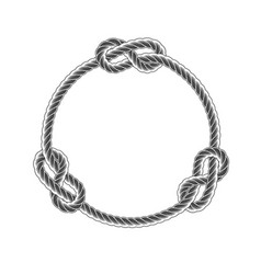 Rope circle frame with knots simple style line vector