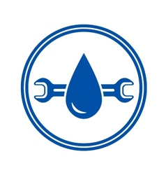 Round icon with water drop and wrench vector