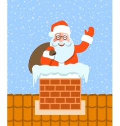 Santa Claus with gifts sits in chimney on roof vector image vector image