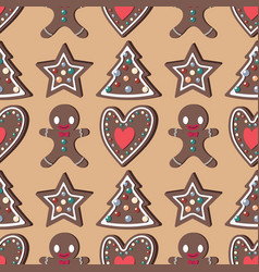 seamless pattern background with gingerbread vector image