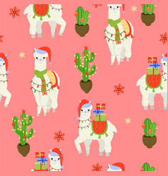 seamless pattern with christmas alpacas graphics vector image