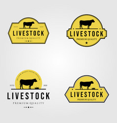 Set cow livestock logo vintage design vector