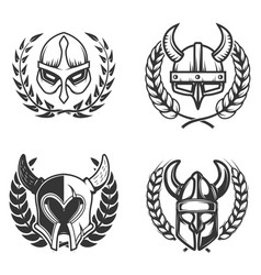 Set of emblems with medieval helmets and wreaths vector